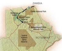 Map of Botswana Wilderness Safari