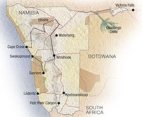 Map of Classic Namibia Experience