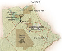 Map of Moremi Wildlife Safari