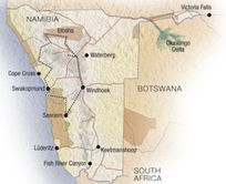 Map of Ultimate Namibia Journey